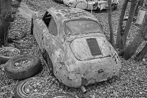 Porsche 356 in German auto graveyard